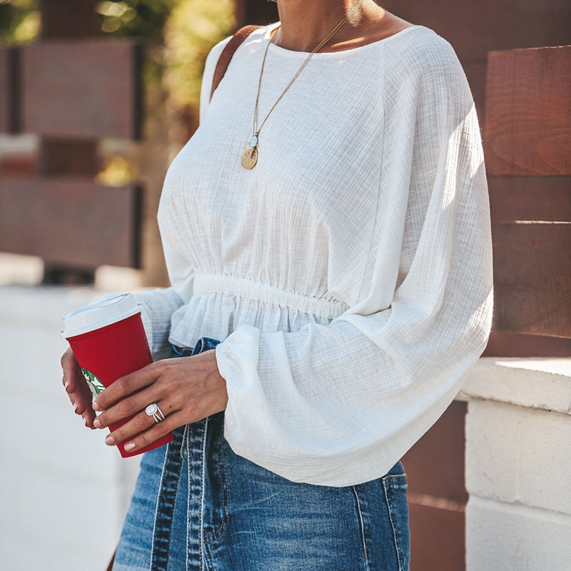 Round Neck Loose Sleeve High Waist T-shirt