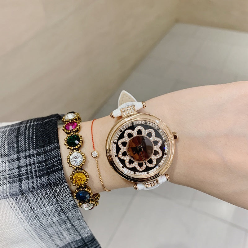 Flower Pattern Rotatable Dial Women's Watch