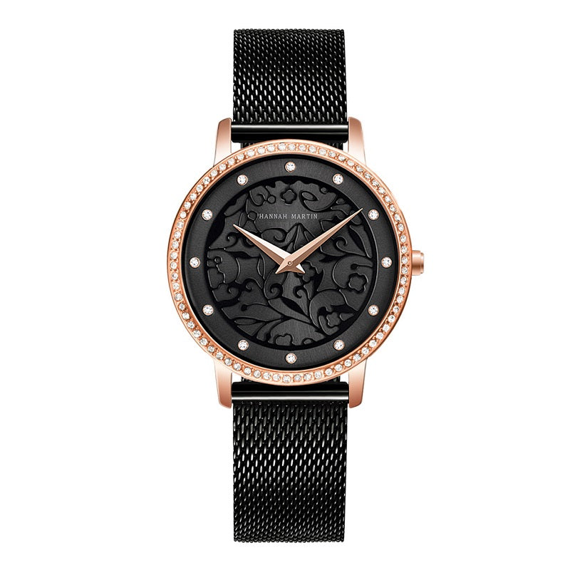 Carved Pattern Dial Women's Watch