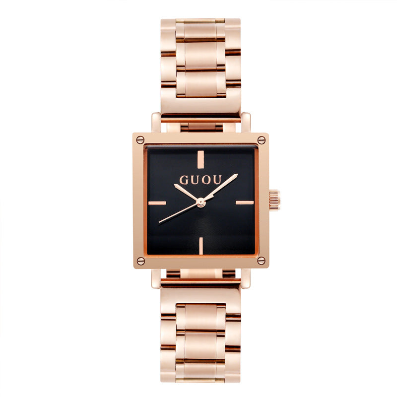 Women's Watch black square dial stainless steel simple watch