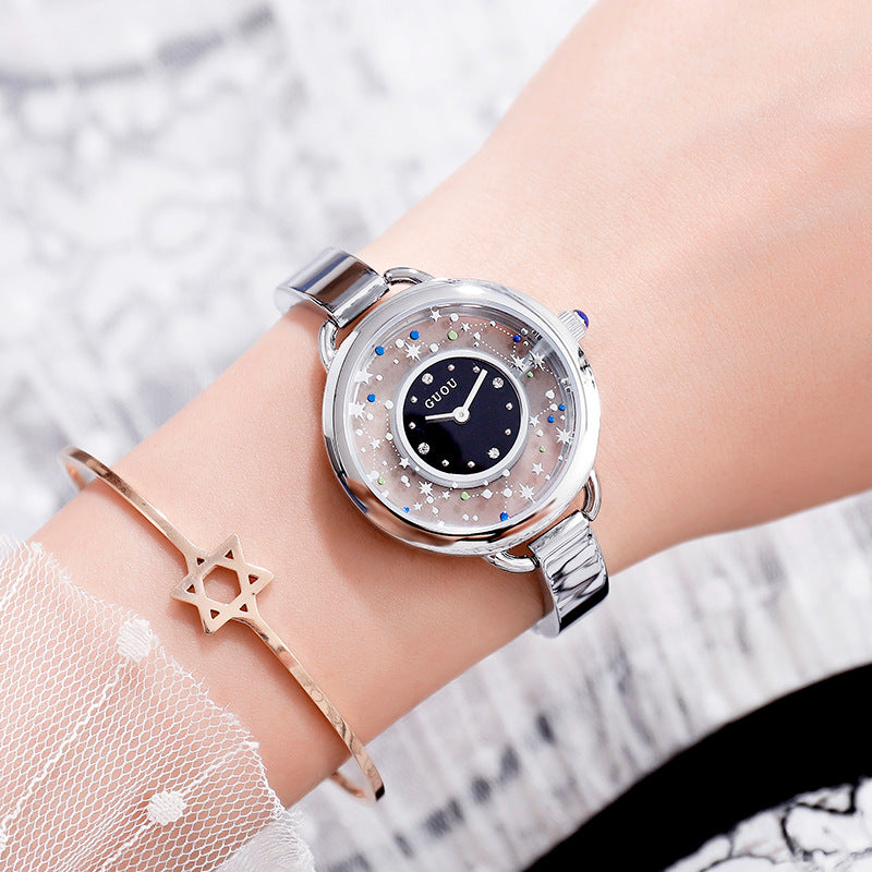 Women's Watch Gypsophila Pattern Hollow large dial stainless steel strap creative watch