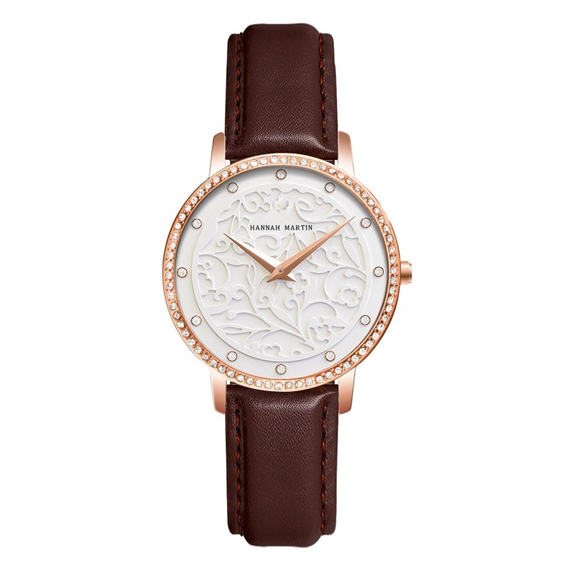 Carved Pattern Dial Leather Strap Women's Watch