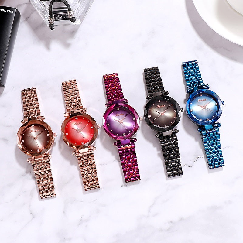 Gradient Dial Two Straps Women's Watch
