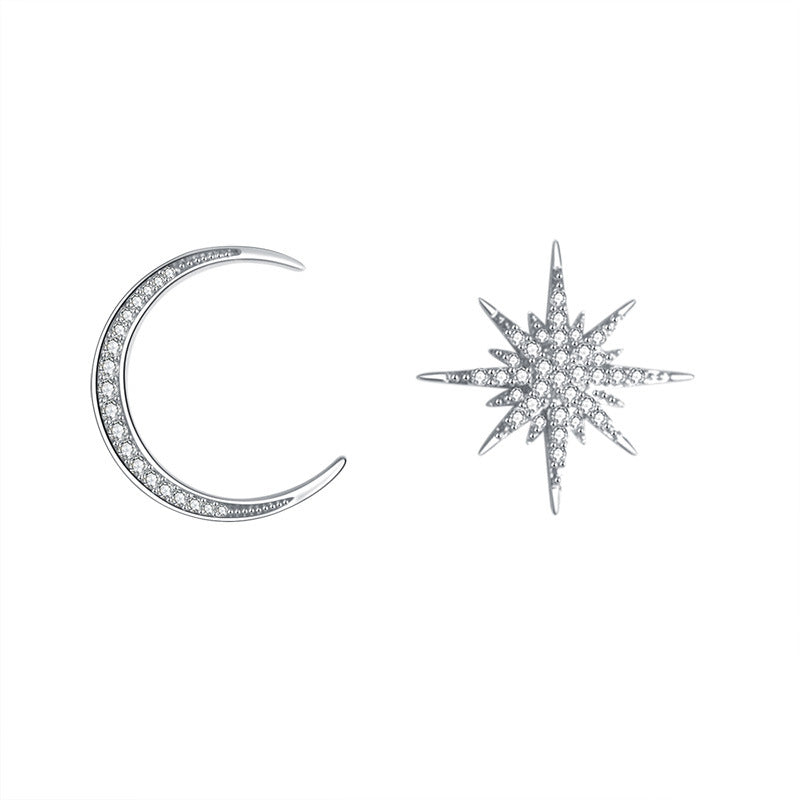Fashionable and simple S925 silver needle asymmetric full Diamond Star Moon Earrings