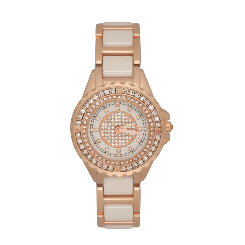 Women's Watch Ceramic full diamond rose gold dial elegant watch