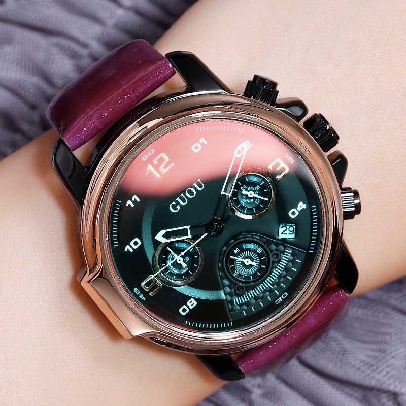 Women's Watch six-needle multi-functional Luminous round dial leather strap sport watch