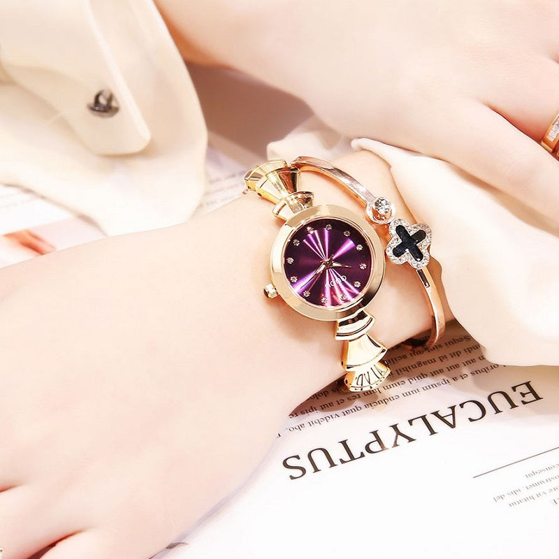 Women's Watch purple dial Retro Fashion Bracelet elegant watch