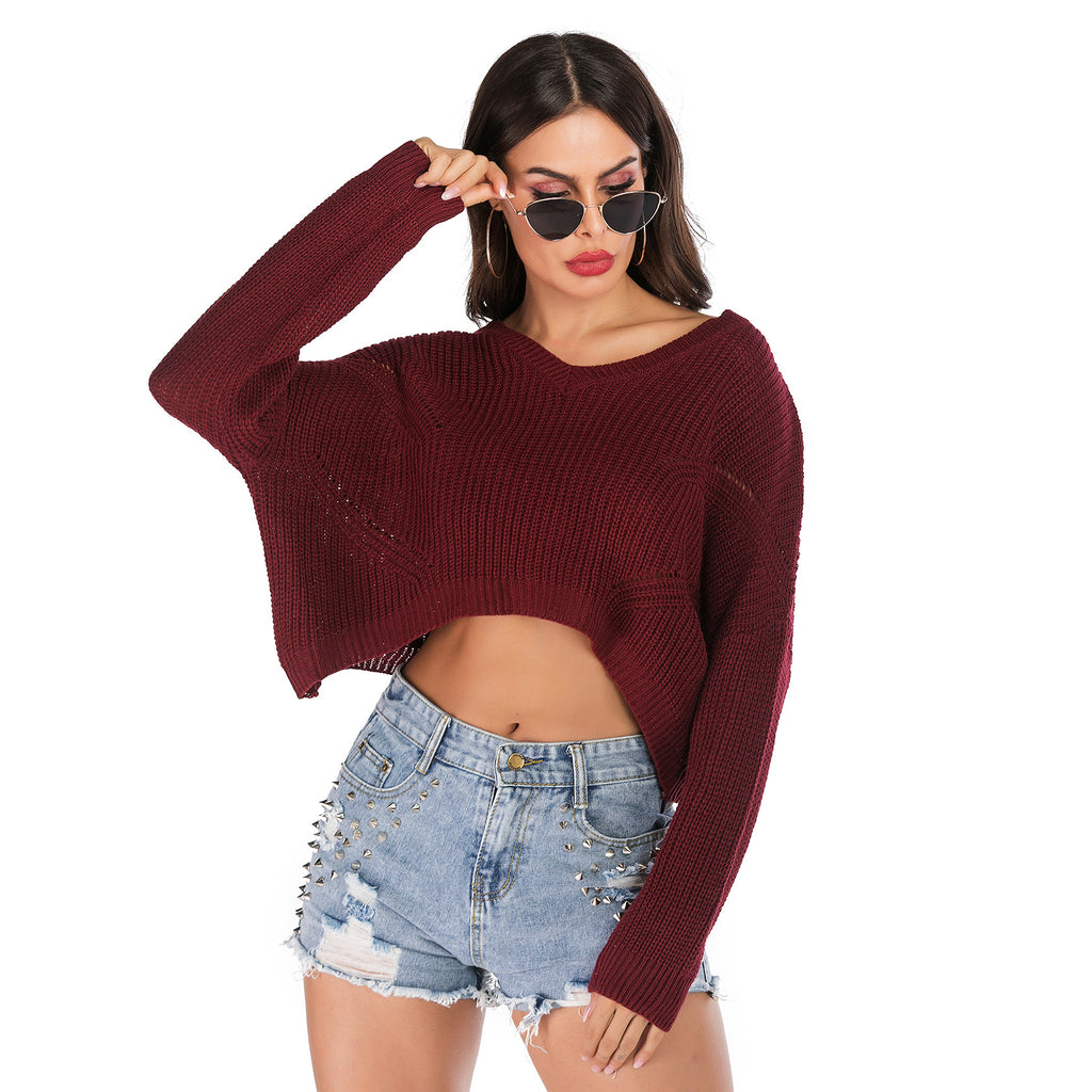 Irregular V-Collar Knitted Lumbar Sweater