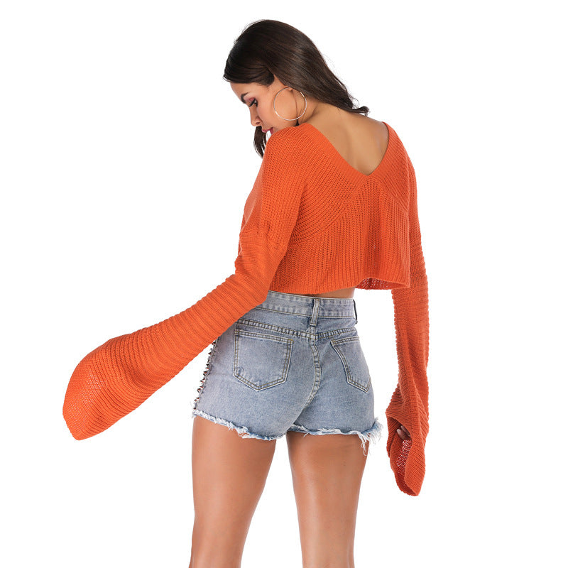 Loose Orange Long Sleeve Lumbar Sweater