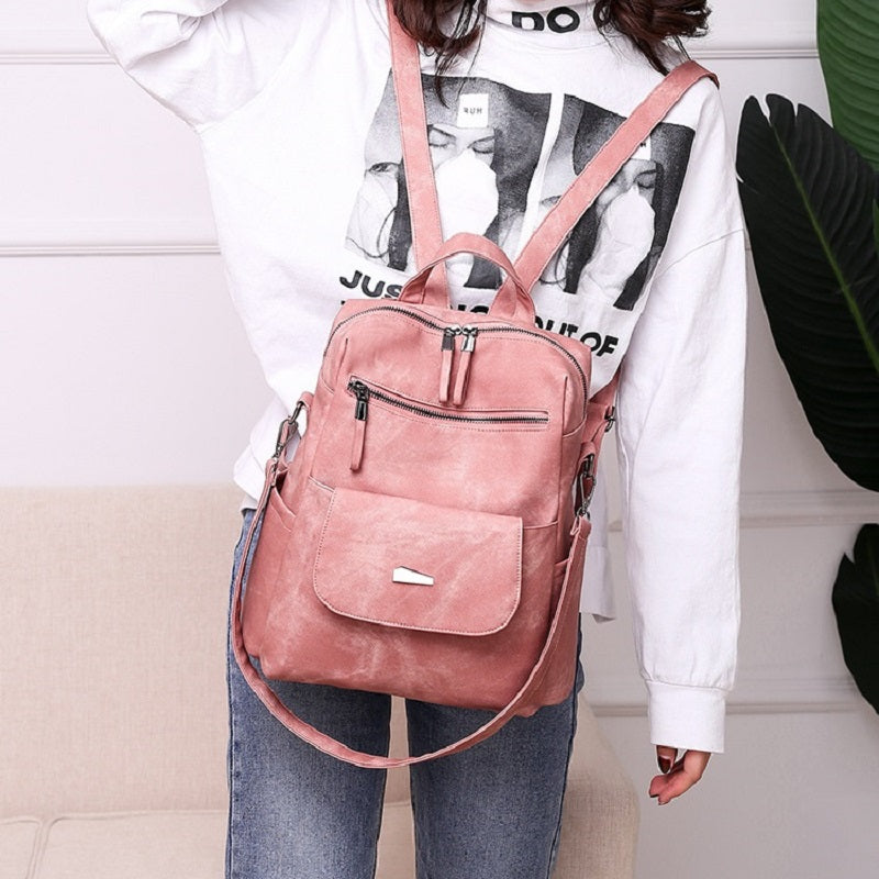 Retro Solid Color Backpack