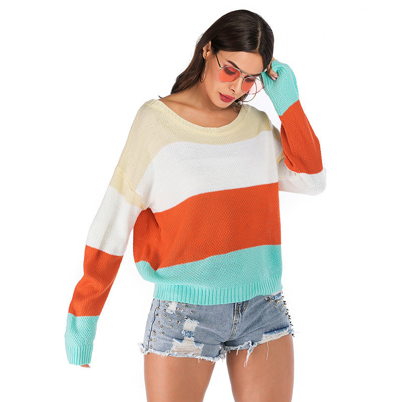 New Arrival Long Sleeve Sweater Contrast color
