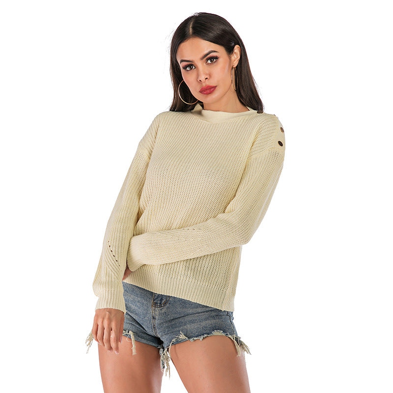 Solid Color Button Sweater