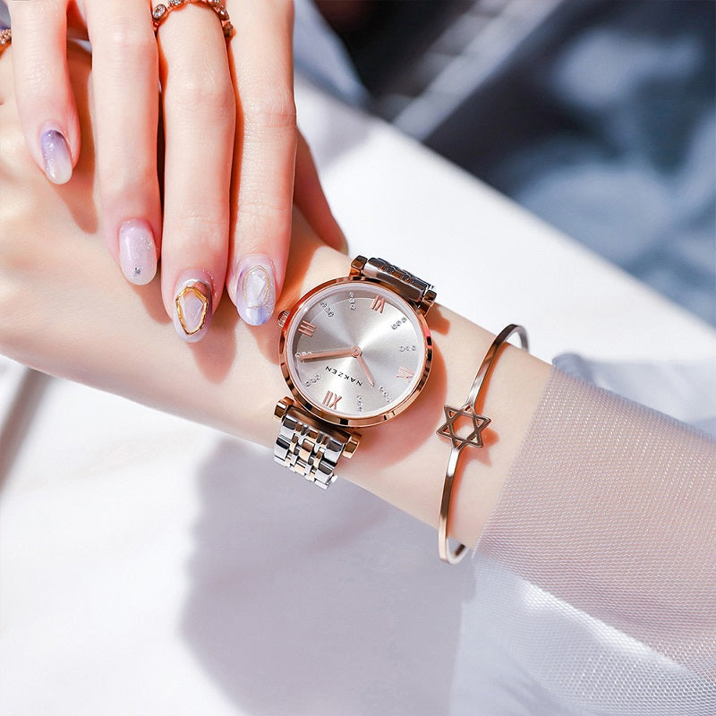 Inlaid Artificial Diamond Dial Women's Watch