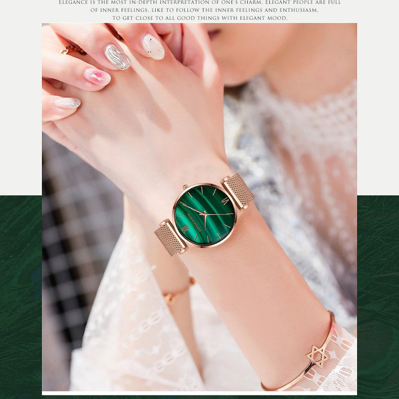 Green Dial Mesh Strap Women's Watch