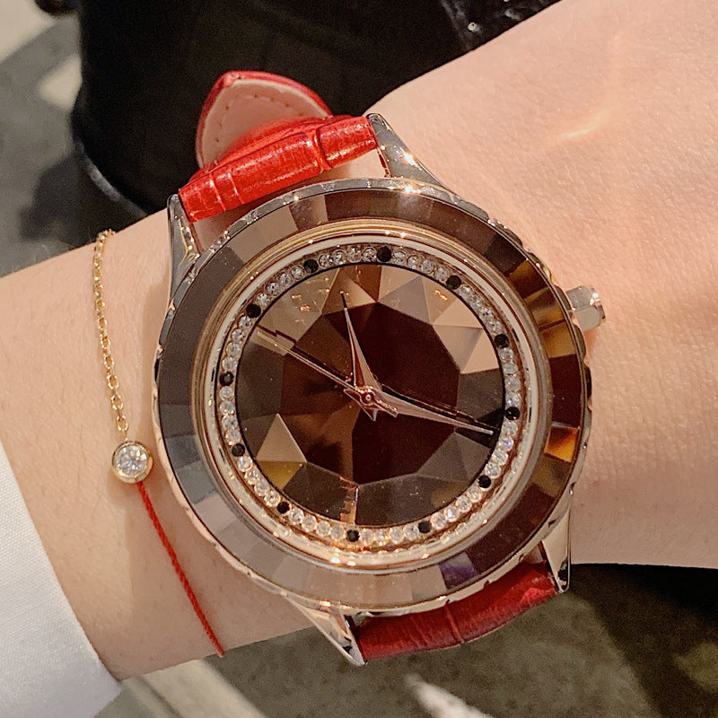 Women's Watch Irregular Mirror purple large dial Leather Strap elegant watch