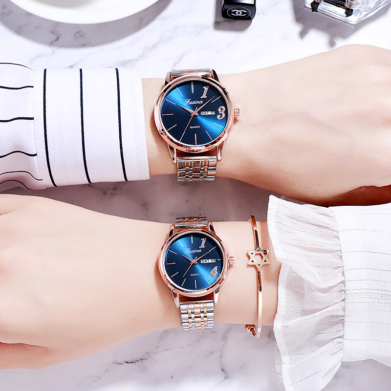 Personality Simple Steel Strap Couple Watch