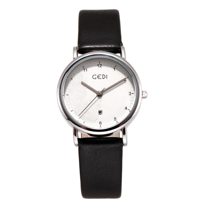 Simple Dial With Calendar Couple Watch Women's Watch