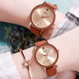 Simple Dial Leather Strap Women's Watch