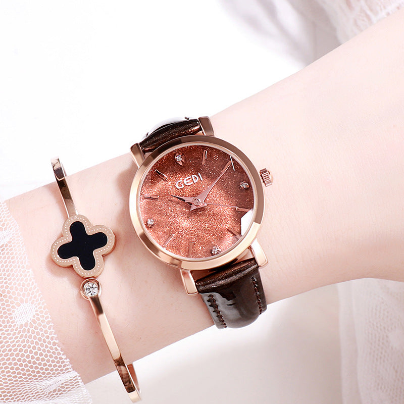 Starry Dial Leather Strap Women's watch