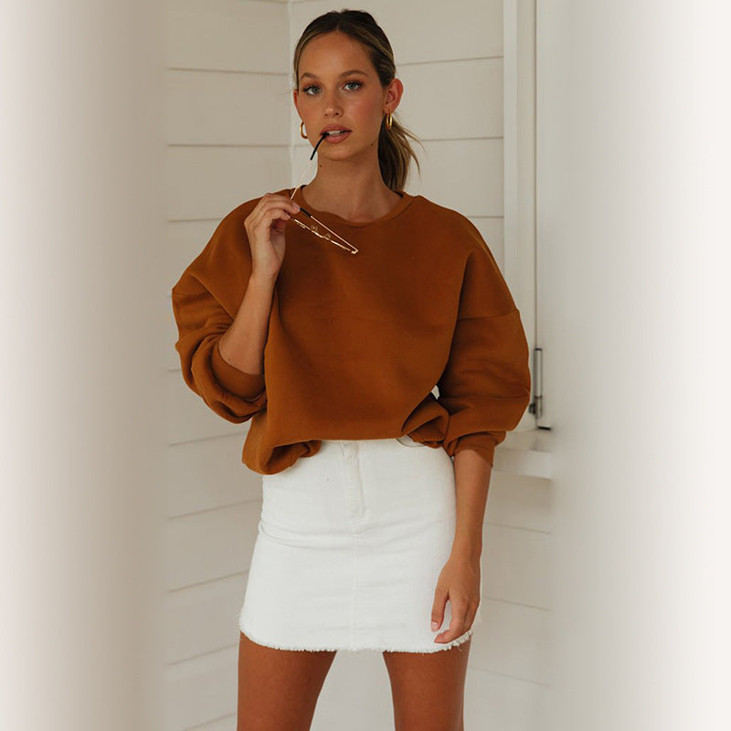 2019 Casual Long Sleeve Round Neck Sweatshirt