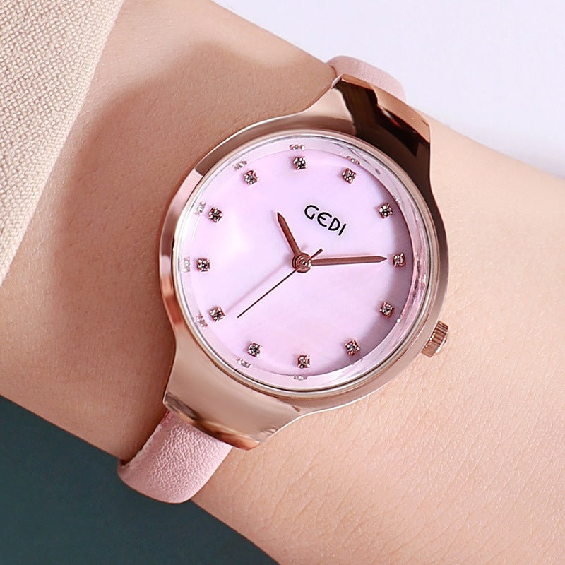 Ultra-shin Leather Strap Women's Watch