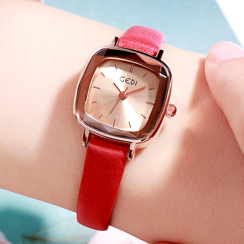 Small Square Leather Strap Women's Watch