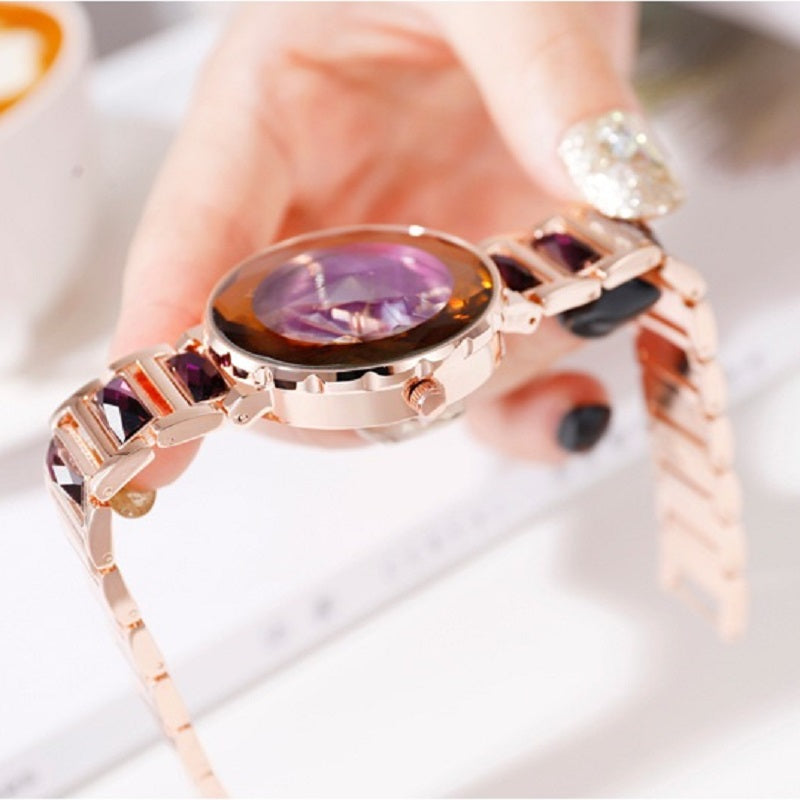 Women's Wristwatch Irregular Mirror purple large dial stainless steel strap elegant watch