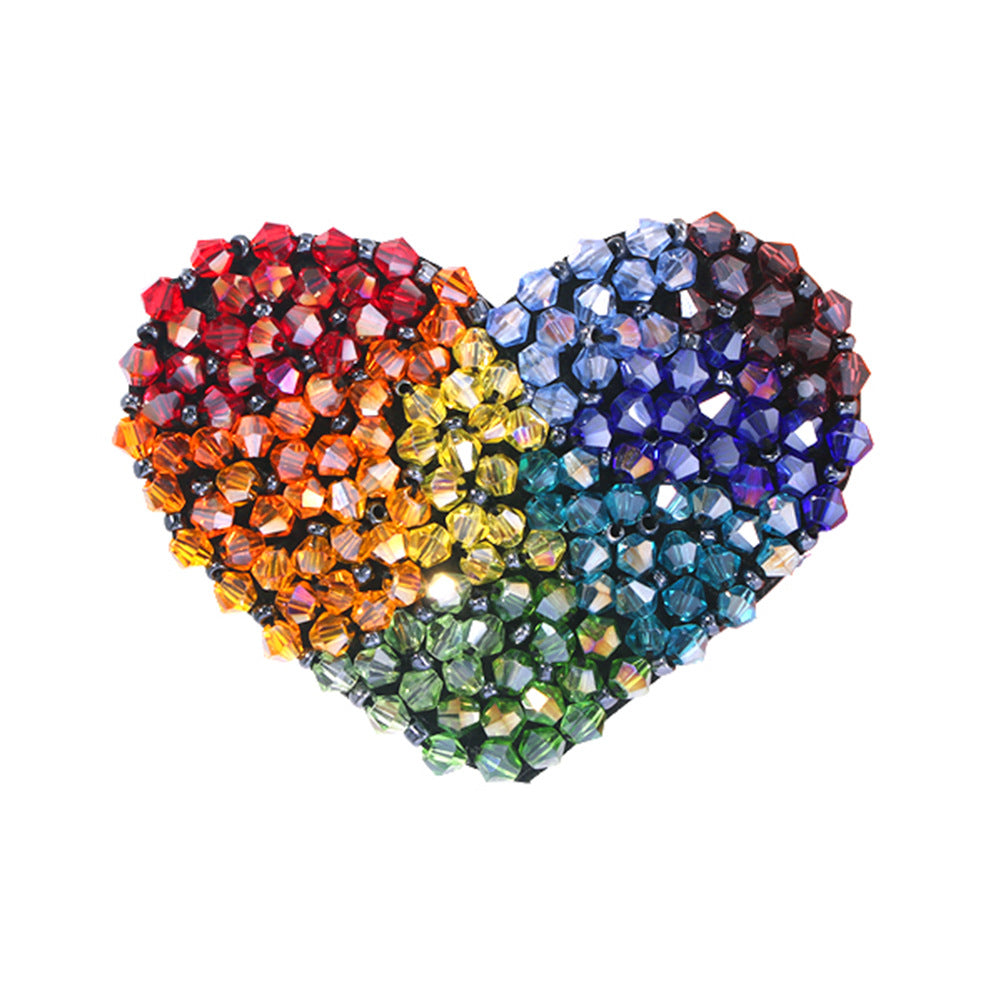 Heart Shape Colorful Rice Beads Hair Clip