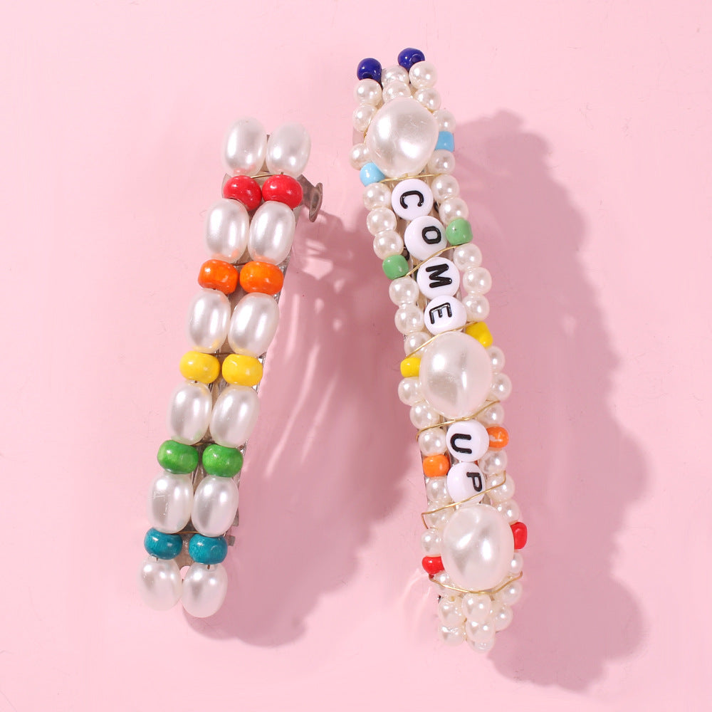 English Letter Pattern Pearl Hair Clip