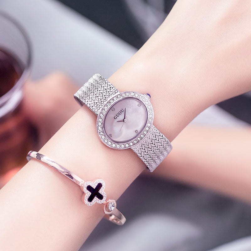Women's Watch Oval Pattern green diamond dial steel strap elegant watch
