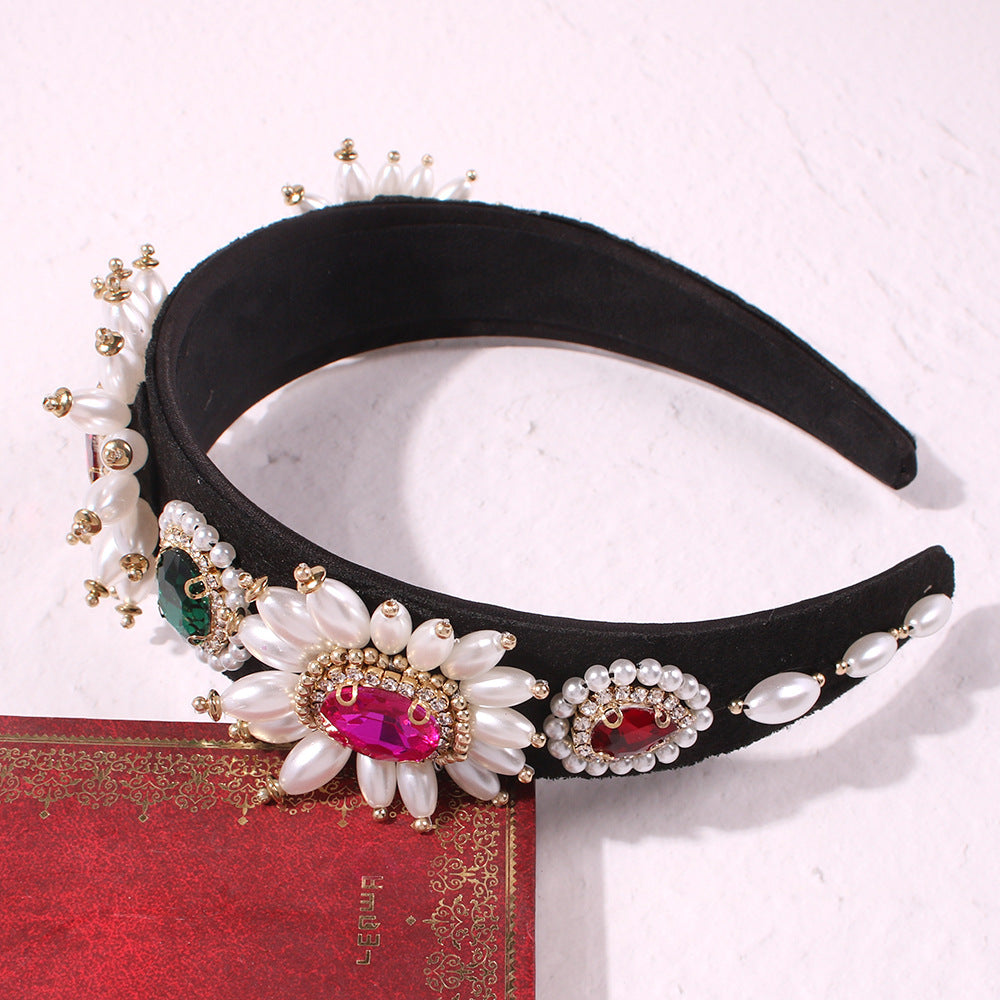 Luxury Gemstone Pearl Tassel Baroque Fashion Headband