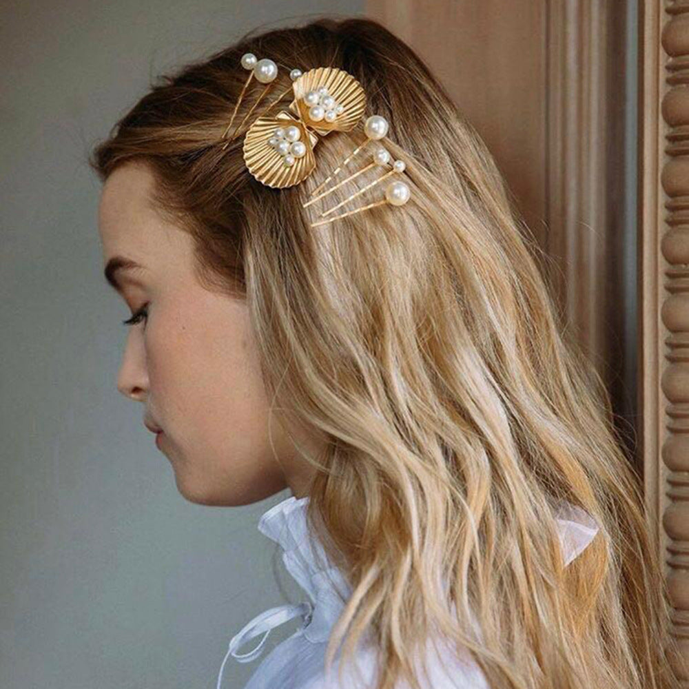 Starfish Shell Pattern Imitation Pearl Hair Clip