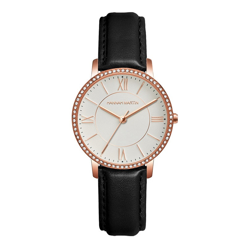 Round Dial Leather Strap Women's Watch