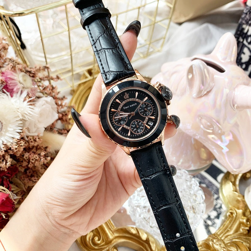 Women's Watch Refractive Mirror Surface Six-Pointer calendar large dial leather strap elegant watch
