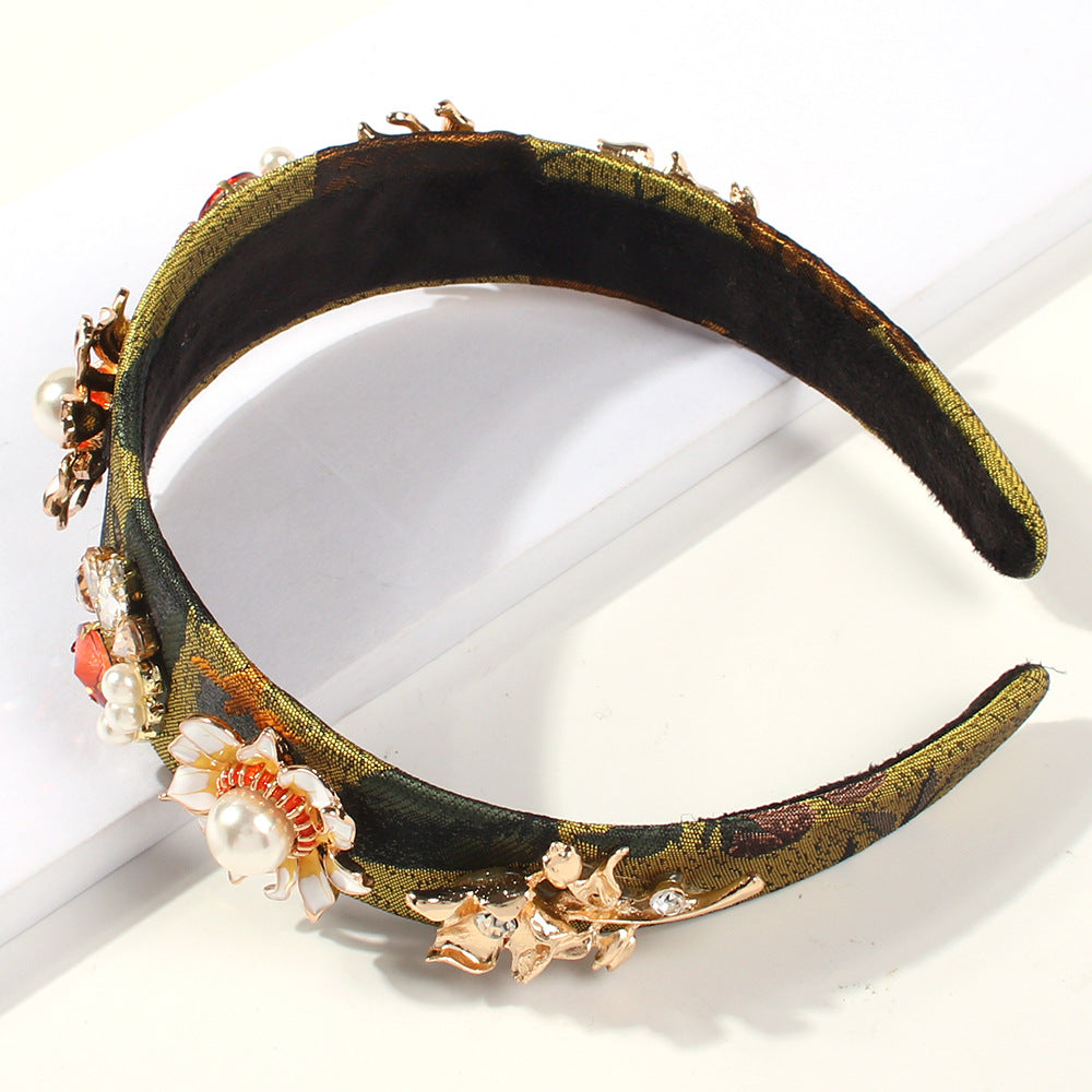 Retro Hollow Imitation Pearls Wide-brimmed Headband