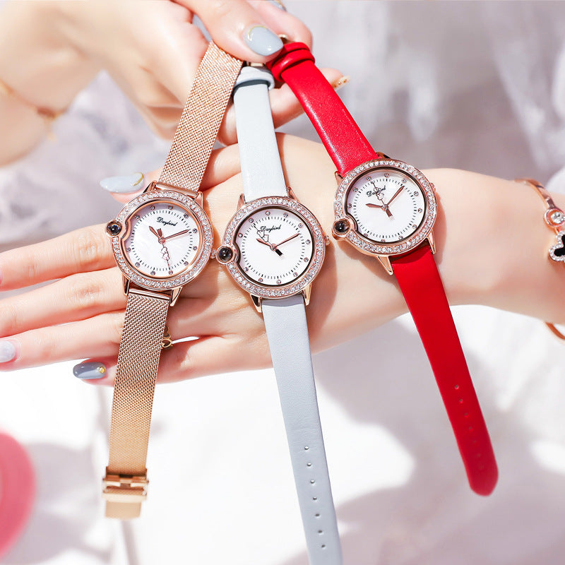 Women's Watch Simple diamond dial with leather strap Exquisite Fashion watch