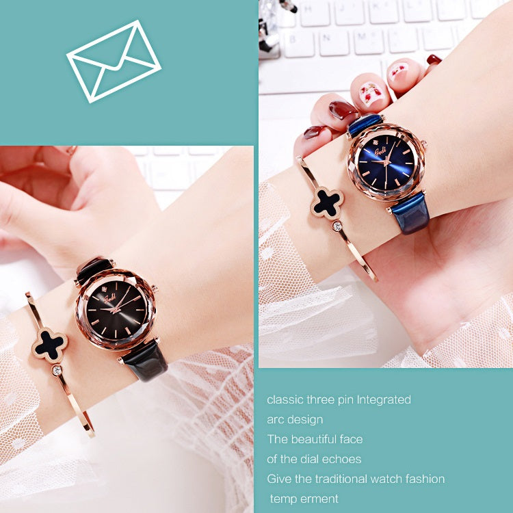 Shining Leather Strap Women's Watch