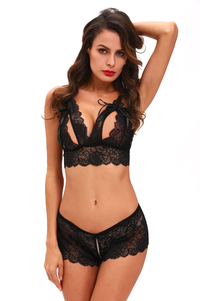 Black Crotchless Bralette Booty Short Lingerie Set