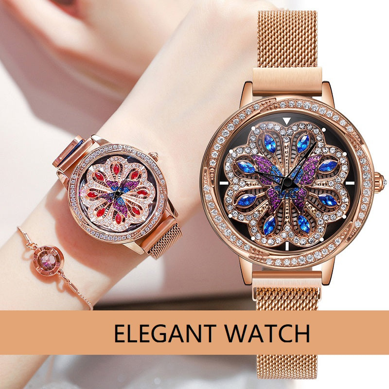 Rotatable Flower Pattern Dial Women's Watch