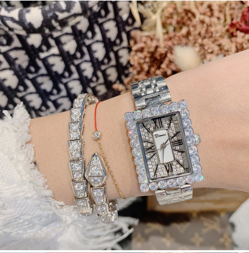 Women's Watch diamond square Pattern Roman Numeral Scale dial stainless steel strap elegant watch