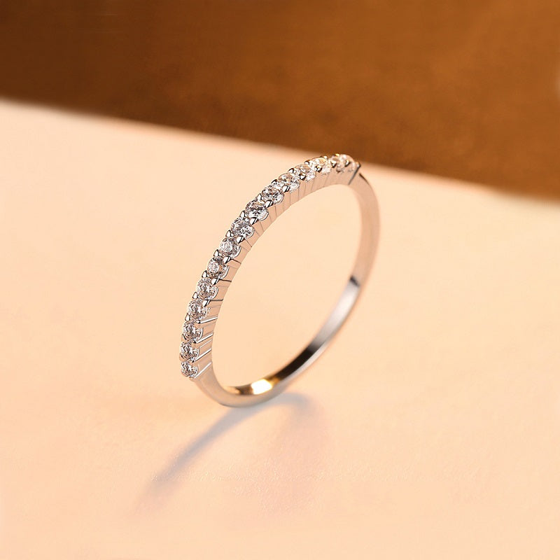 Simple 2 Pcs Set Zirconium Ring