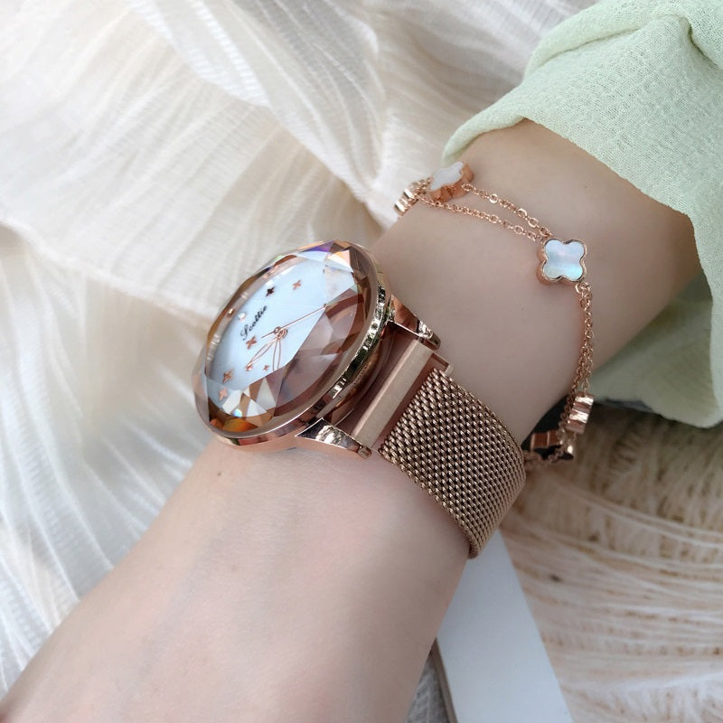 Women's Watch diamond Four-leaf Clover large Dial Milan strap Personality watch