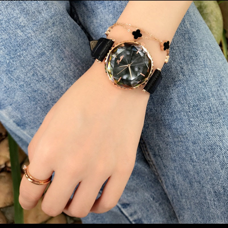 Women's Watch Blue Diamond Large Dial Casual Leather Strap Women's clothing  watch