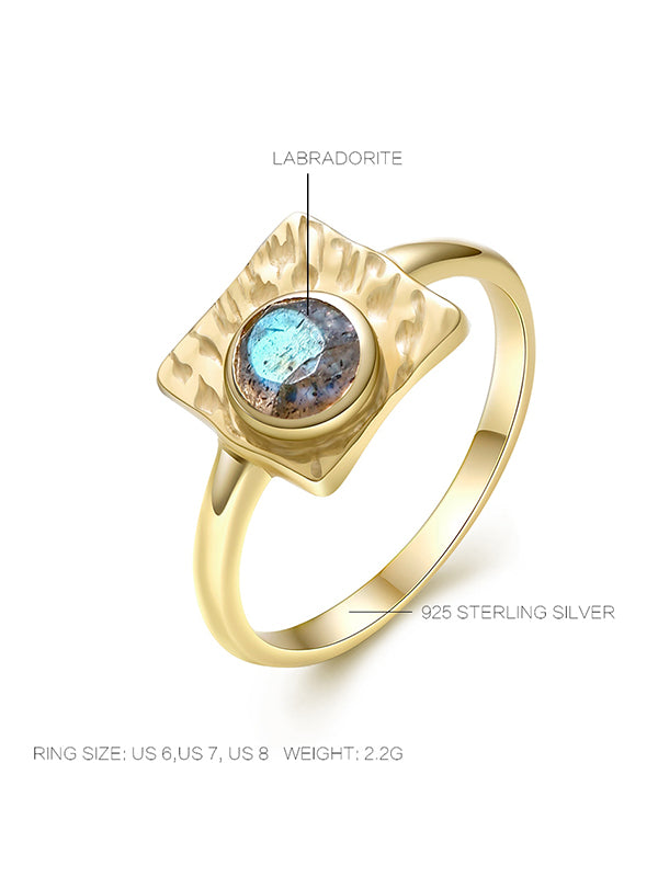 Golden Square Labradorite Ring