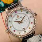 Colorful Diamond With Calendar Women's Watch