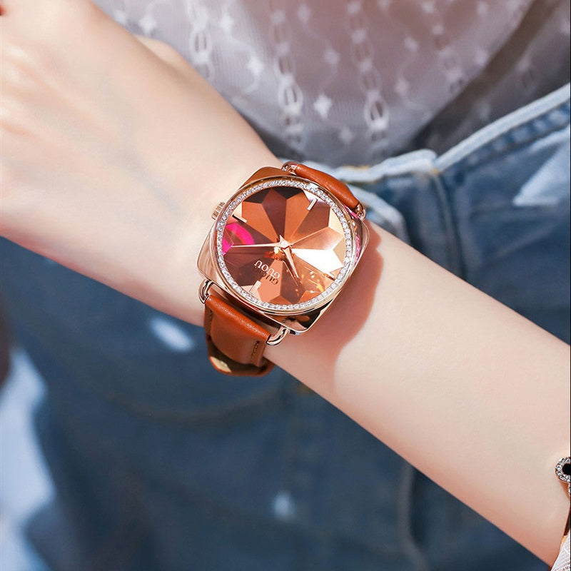 Women's Watch square rose gold diamond petals pattern dial leather strap stylish watch