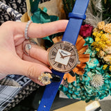 Diamond Dial Leather Strap Women's Watch