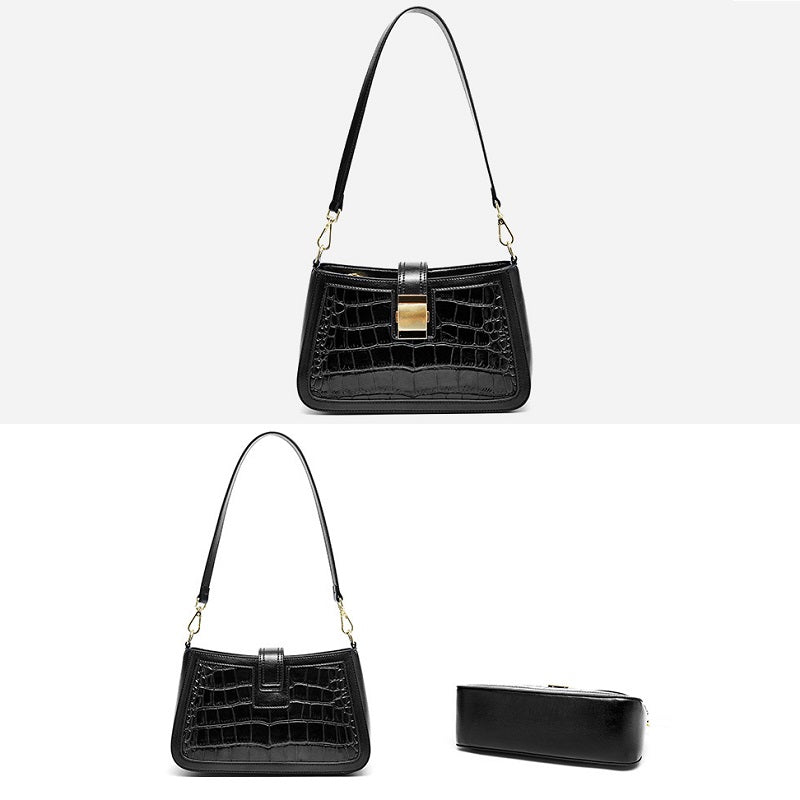 Crocodile Pattern Oil Wax Leather Handbag