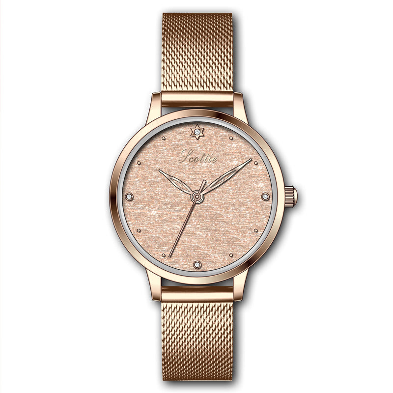 Simple Round Dial Mesh Strap Women's Watch