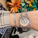 Women's Watch Full Of Rhinestone Frame large dial stainless steel strap elegant watch